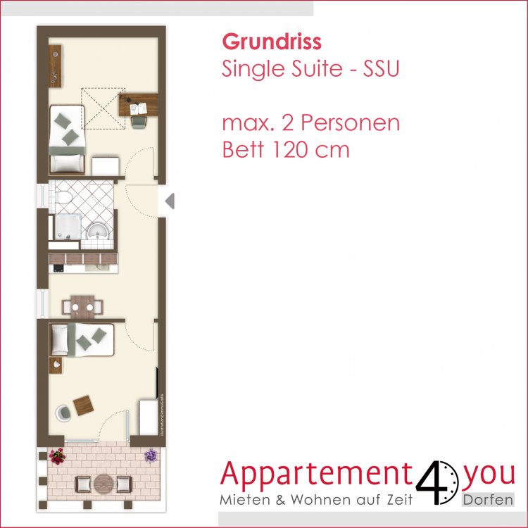 Grundriss Single Suite
